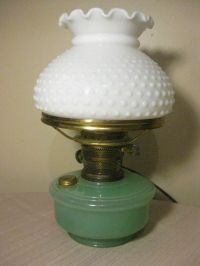 Vintage Aladdin Oil Lamp Green Moonstone & White Hobnail ...