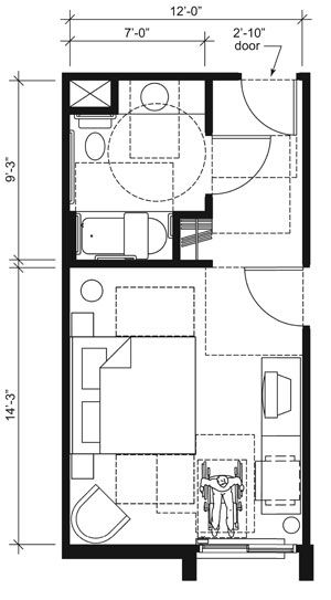 This drawing shows an accessible 12foot wide guest room with features that comply with the 2010
