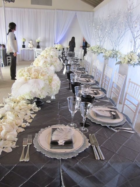 Silver And Cream Head Table Bling Wedding Ideas
