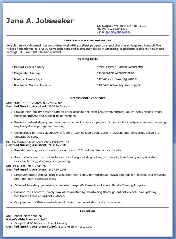 Free Sample Certified Nursing Assistant Resume  Creative Resume Design Templates Word
