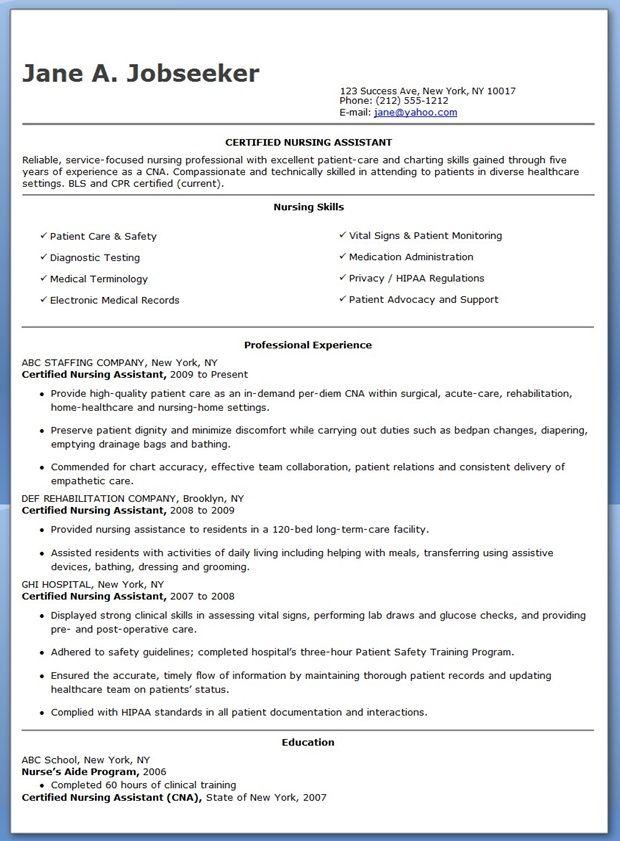 certified nurse aide resume