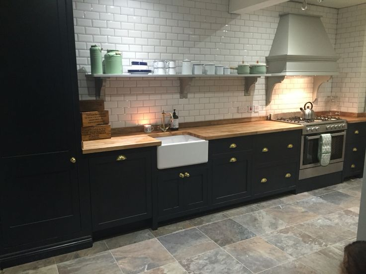 drop in kitchen sinks sink cabinets lowes with white subway tiles, grey slate floor tiles ...