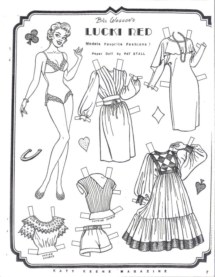 Lucki red models favorite fashions paper doll sheet by pat
