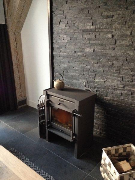 living room designs with wood stove ceiling design janus houtkachel | houten muur in woonkamer pinterest ...