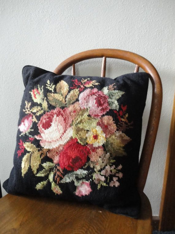 Pretty black pillow with floral needlepoint  Floral