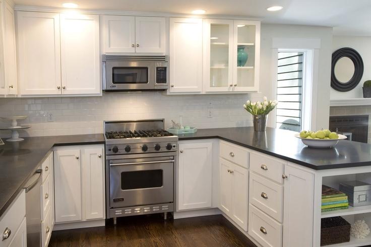 White cabinets dark countertops