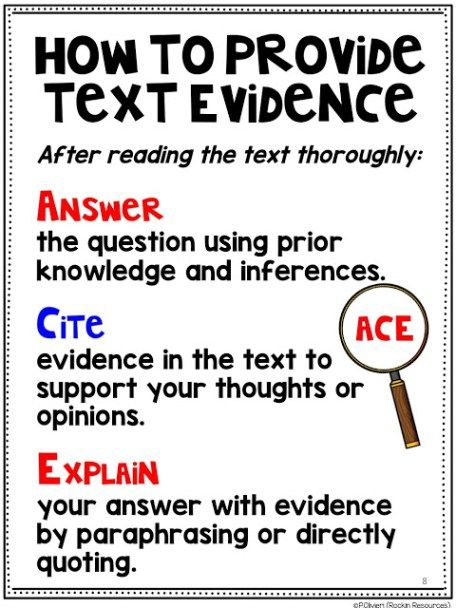 25+ best ideas about Citing Text Evidence on Pinterest