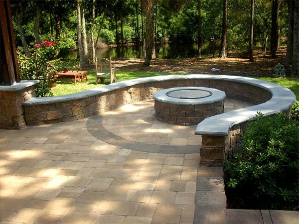 paver patio with fire pit design ideas Hardscape Package #3 - Brick Paver Patio, Pergola, Firepit, & Retaining Wall - Enhance Companies