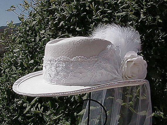 Victorian Inspired Western Bridal Hat  Western Wedding Hat  Womens Shantung Cowboy Hat