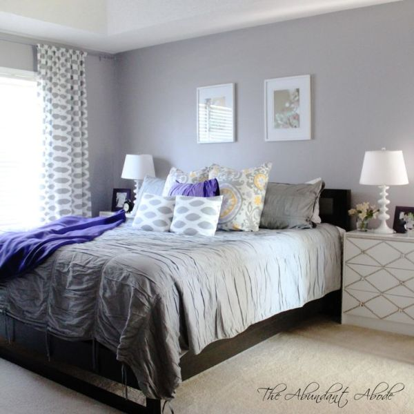 """purple and yellow master bedroom ideas Gray, Purple, Yellow, White and Black """"master suite."""" The Abudant Abode. Enjoy the tour. Tour"""