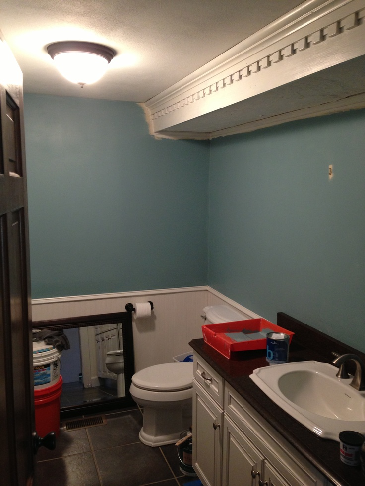 Benjamin Moore Jamestown Blue On The Walls Bathroom