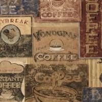 Vintage Coffee Labels Kitchen Decor Square Coaster Set of ...