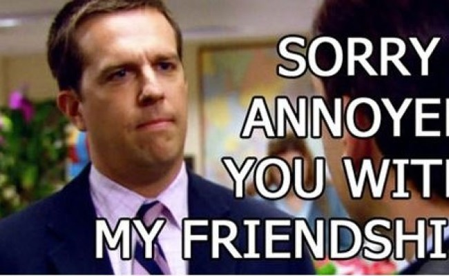 Sorry I Annoyed You With My Friendship Andy Bernard The