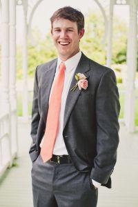 Grey suit with salmon tie | Groom and Groomsmen ...