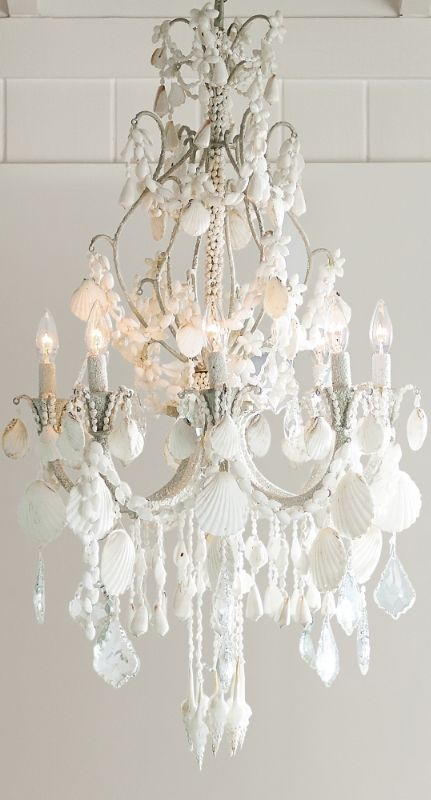 An Ethereal Symphony Of Cascading Crystals And Seashells Our Harbor Shell Chandelier Casts A Captivating