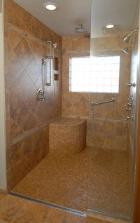 roll in shower with no curb for wheelchair access | Home ...