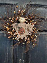 Primitive Ghost & Candy Corn Wreath - Primitive Halloween ...
