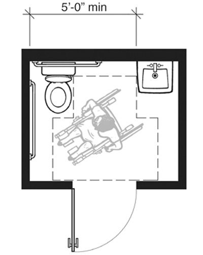 This plan shows an example of a single-user toilet room