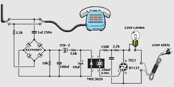 Phone Rings Lamp Circuit MOC3020 telefon alarm lamba yakma