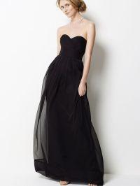 Dbuy black chiffon strapless long bridesmaid dress long ...
