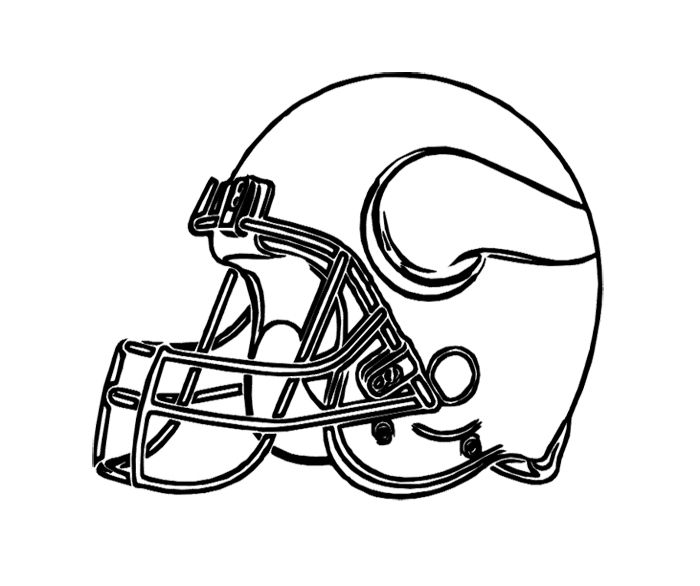 Football Helmet Vikings Minnesota Coloring Page For Kids