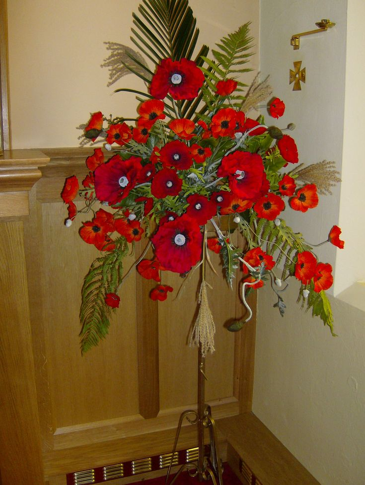 Remembrance day poppies  flower arrangements I created