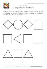 kindergarten pattern worksheets   Easy Preschool Patterns ...