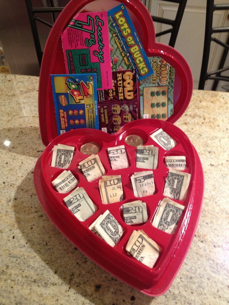 Valentine Chocolate Heart Box With Cash And Lottery