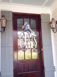 28x28 3 letter wooden monogram with bow // front door ...