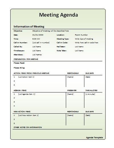 work meeting agenda template