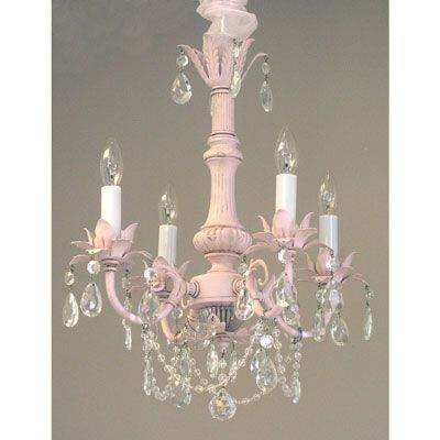 Lighting Chandeliers Pleasant Dreams 4 Arm Crystal Chandelier Cottage Shabby Chic