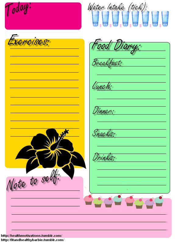 printable food journals for weight loss