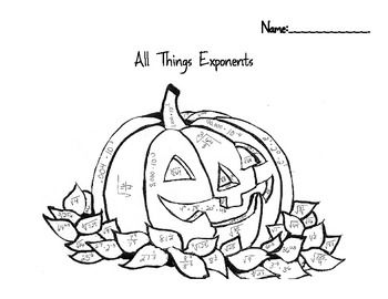 All Things Exponents Color by Number Halloween/Fall