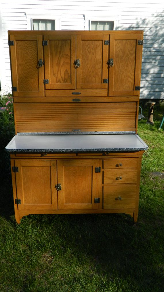 1924 Sellers Clearfront 48 Wide Hoosier Cabinet by