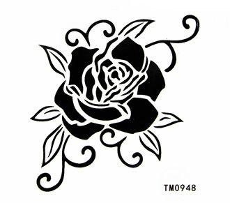 BEST Waterproof tattoo sticker black and white rose body
