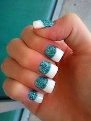 #nails. teal white nails. nails