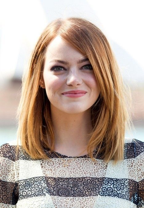 Emma Stone Medium Straight Hairstyles – Long Bob Hairstyle for Round Faces
