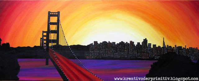 Golden Gate Bridge Acryl Malen Idee Anleitung USA Westen