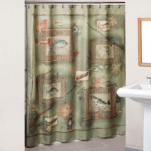 Fishing Theme shower curtain for guest bath  Cabin