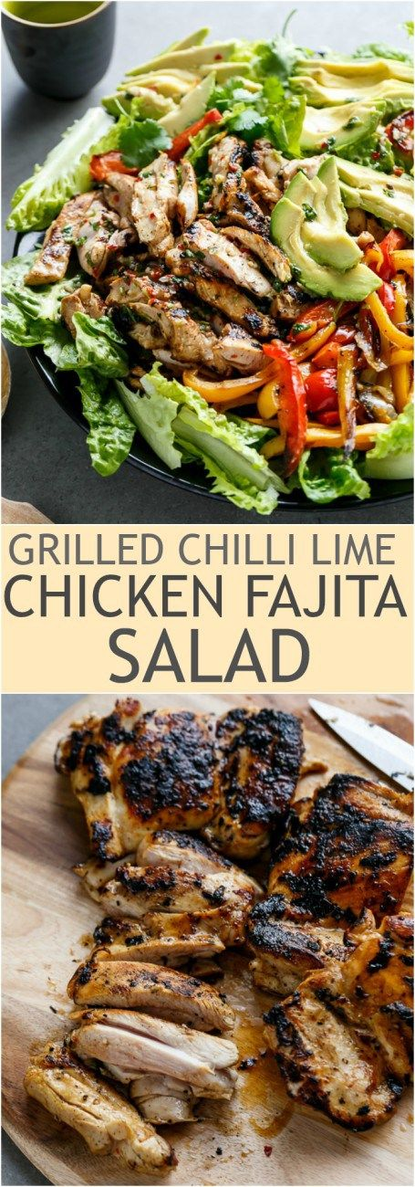 Grilled Chilli Lime Chicken Fajita Salad...leave out the brown sugar in marinade. :):