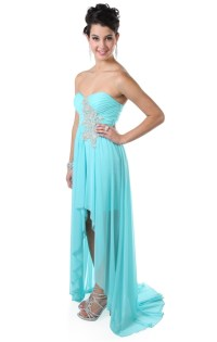 Deb Shops strapless stone applique high low #prom #dress ...
