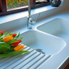 Kitchen Sinks With Drainboard Built In Tea Towels 873 Corian Sink Glacier White, Worktops Are Whitecap ...