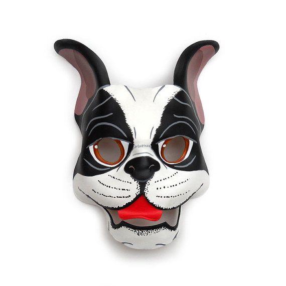 Boston Terrier Leather Mask Dog Halloween French Bulldog