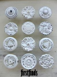 9 Knobs Shabby Chic Drawer Pulls White Kitchen Misfit
