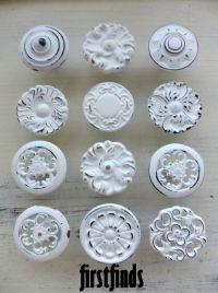 9 Knobs Shabby Chic Drawer Pulls White Kitchen Misfit ...