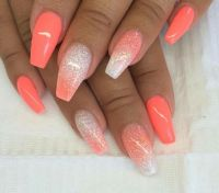 The 25+ best ideas about Coral Acrylic Nails on Pinterest ...