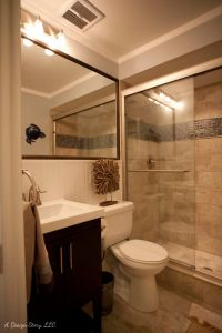 Small bath ideas. Love the large mirror over the sink and