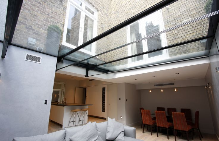 Structural Glass Walk On Roof Above Living Space With Low