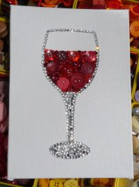 Red Red Wine ~ Wine Glass Button & Bead Wall Art with LOTS ...