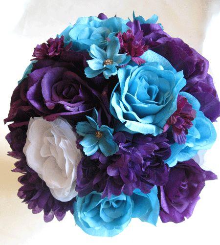 Wedding Bouquet Bridal Silk flowers PURPLE PLUM TURQUOISE WHITE 17 pcs package  Turquoise